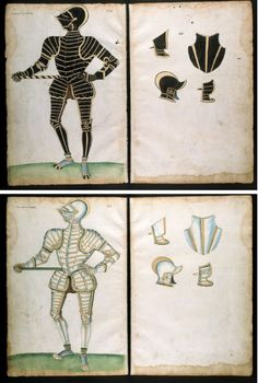 Almain Armourer's Album The Jacob Album The Earle of Rutlande in black & The Earle of Bedforde in white Jacob Halder (designer) Greenwich England 1557-1585