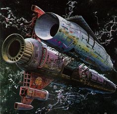 Art by Bob Layzell. From Spacewreck: Ghostships and Derelicts of Space by Stewart Cowley, Art Pulp, The Stars My Destination, Arte Sci Fi, Sci Fi City, 70s Sci Fi Art, Spaceship Art, Spaceship Design, Arte Tribal, Classic Sci Fi