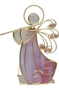 Stained Glass Angel Flute Candle Holder