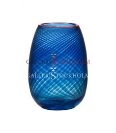 Bertil Vallien - Glaskonst - Red Rim liten blå vas Beställ här! Klicka på bilden.
