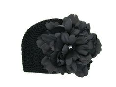 Jamie Rae Black Crochet Hat with Black Peony 0-3m Made to fit your little one's head so nicely..  #Jamie_Rae_Hats #Apparel