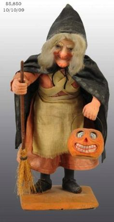 German Halloween witch carrying a JOL lantern, 1920's, very rare | Morphy Auction, SOLD $5,850, Oct 10, 2009