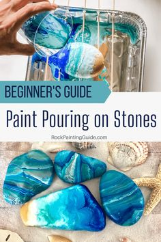 Acrylic Paint Pouring on Rocks for Beginners Easy tutorial for paint pouring basics rockpainting acrylicpouring art stonepainting create - Stone Crafts, Rock Crafts, Diy Crafts To Sell, Diy Crafts For Kids, Easy Crafts, Crafts With Rocks, Diy Crafts For Bedroom, Diy Décoration, Easy Diy