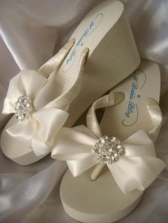 1b5b54bc0 Ivory Bridal Flip Flop Sandals with Satin Bow by ABiddaBling