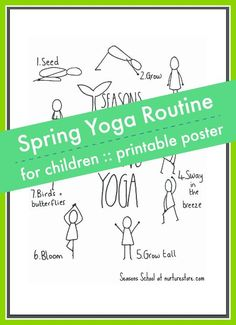 spring yoga routine for children printable poster, easy yoga poses for chidlren, spring yoga story for kids Yoga Routine, Yoga For Kids, Exercise For Kids, Yoga Lessons, Online Yoga, Kids Online, Online Games, Easy Yoga Poses, Printable Activities For Kids