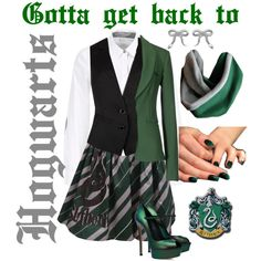 """""""Gotta Get Back to Hogwarts, Slytherin Style"""" by foreverfangirl13 on Polyvore"""