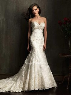 LOVE this dress. lace sweetheart strapless slim trumpet beaded empire wedding dress. if only i could try it on first