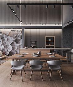 Formal Dining Tables, Dining Area, Kitchen Dining, Dining Room, Loft Design, House Design, Modern Design, White Room Decor, Bathroom Design Luxury