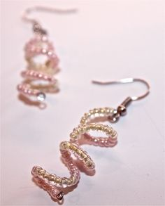 Pink Spiral Earrings. cute!