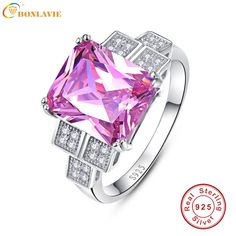 BONLAVIE 2017 Luxury Wedding Band 925 Silver Jewelry Pink Topaz Wedding And Engagement Square Rings Size 6/7/8/9 Nuevos Anillos #Affiliate