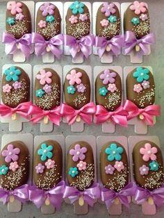 paletas de chocolate adornadas - Buscar con Google