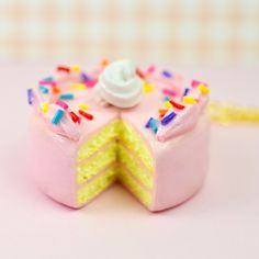 Mini Pink Cake Charm Pendant Necklace Miniature Food Jewelry Polymer Clay Handmade by Sweet Clay Creations