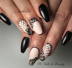 NagelDesign Elegant Black and beige roses and beige black elegant Nagellack Design, Nagellack Trends, Lace Nail Design, Nail Art Designs, Nails Design, Lace Nails, Flower Nails, Ongles Beiges, Rose Nail Art