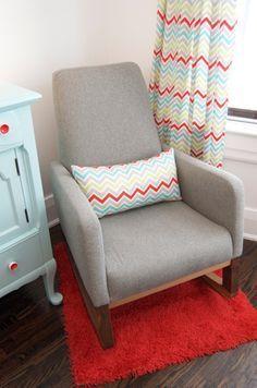 Grey Nursery Rocking Chair By Monte Design Chevron Curtains Fabric Baby