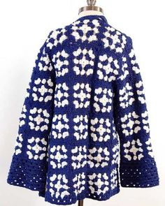 granny square coat blue and white