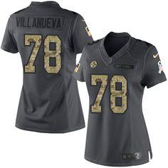 Nike Pittsburgh Steelers Women's #78 Alejandro Villanueva Limited Black 2016 Salute to Service NFL Jersey