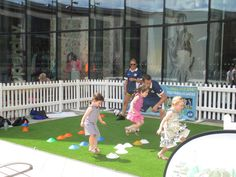 Sports for Kids join Woking Shopping on the lawn, Jubilee Square for an action packed afternoon of ball games for kids of all ages. #MiniGolf #Shopping #Woking #Surrey #Sports #Summer.
