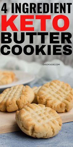 4 Ingredient Keto Butter Cookies made with almond flour. These are super easy to make and made super soft low carb cookies with only g net carbs per serving! These taste like real butter cookies t Keto Butter Cookies, Low Carb Cookies, Low Carb Sweets, Almond Flour Cookies, Keto Chocolate Chip Cookies, Healthy Cookies, Desserts Keto, Dessert Recipes, Health Desserts