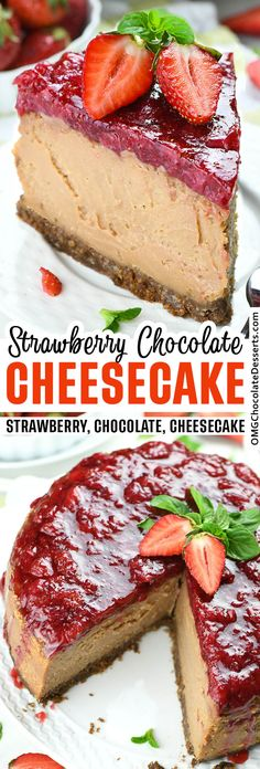 Strawberry Chocolate Cheesecake is the best combination of chocolate and strawberries ever! This dessert is like chocolate-covered strawberries turned into a melt-in-your-mouth cheesecake. Chocolate Mousse Cake, Chocolate Cheesecake, Chocolate Desserts, Chocolate Covered, Best Cheesecake, Cheesecake Desserts, Chocolate Strawberries, Covered Strawberries, Delicious Desserts