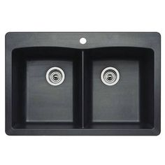 Blanco 440220 Diamond Equal Double Bowl Silgranit II Drop In Kitchen Sink In Anthracite $287