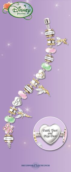 Celebrate the magic of Tinker Bell with this dazzling Disney charm bracelet. 14 interchangeable charms express your love of imagination with a special dose of faith, trust and pixie dust. If you're a Tinker Bell fan, you don't want to miss it. This attractive women's bracelet is backed by the best guarantee in the business, with returns up to 120 days and free return shipping.