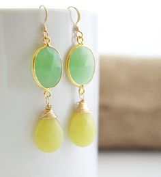 Bezel Set Green Chalcedony Earrings with Wire by Jewels2Luv, $38.75