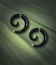 Fake Gauge Earrings Small Silver Tipped Spiral by PrimalOriginals, $24.00