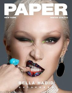 Guess the Victoria's Secret show just wasn't racy enough! A platinum blonde Bella Hadid shows off a nipple piercing as she poses topless for a provocative Paper magazine cover shoot Paper Magazine Cover, Fashion Magazine Cover, Fashion Cover, Love Magazine, Magazine Mode, Magazine Design, Magazine Titles, Italy Magazine, Magazine Photos
