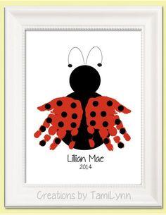 Ladybug Handprint Art  Personalized Baby by CreationsbyTamiLynn, $20.00