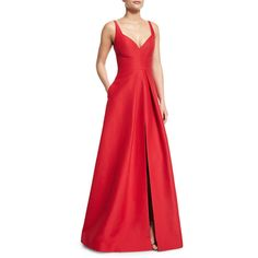 Halston Heritage Sleeveless V-Neck Structured Gown (511.005 CLP) ❤ liked on Polyvore featuring dresses, gowns, carmine, red a line dress, floor length evening gowns, halston heritage gown, red gown and v neck gown