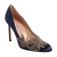 """Swan"" by Manolo Blahnik in Navy/Silver - Satin taper toe pump with rhinestone embellished detail at toe"