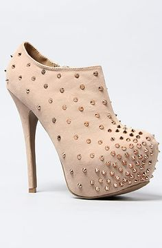 The Full Throttle Shoe in Taupe studded piked bootie