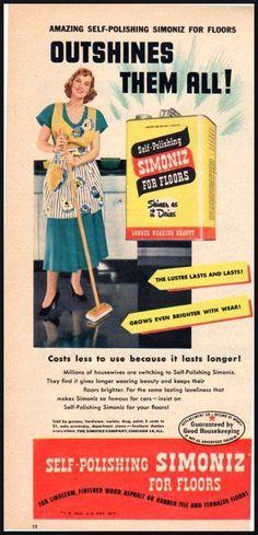 Self-Polishing SIMONIZ for floors Vintage Ad Woman's Day 1949 (100311)