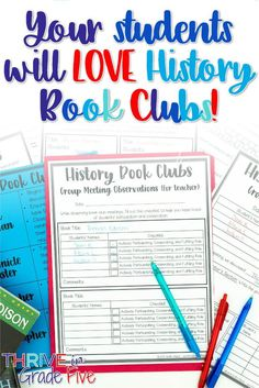 Love literature circles? Make them into history book clubs by using historical fiction and nonfiction books. This post will help you to implement and assess history book clubs in your upper elementary classroom! Social Studies Classroom, Social Studies Resources, Teaching Social Studies, Teaching History, History Book Club, Study History, History Books, Book Clubs, Book Club Books