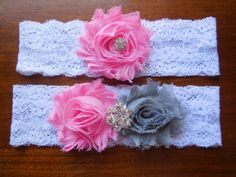 Pink and Gray Garter Garter Wedding Garter by BloomsandBlessings, $18.00