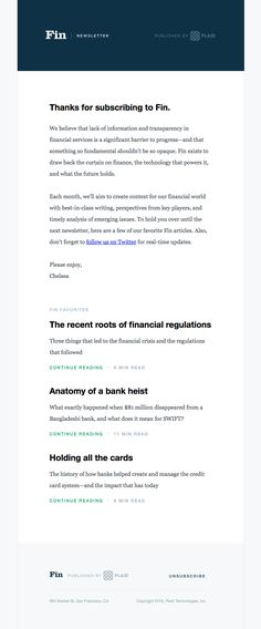 Plaid sent this email with the subject line: Welcome to Fin - Read about this email and find more welcome emails at ReallyGoodEmails.com #financial #welcome