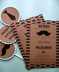 Adorable mustache invitations for birthday party or baby shower