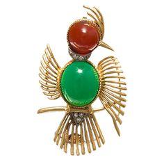 Broche de Oro con Ágata y Diamantes de talla Brillante