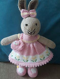Ravelry: Pink Dress Bunny W - Diy Crafts - moonfer Knitting Dolls Free Patterns, Knitted Dolls Free, Teddy Bear Knitting Pattern, Knitted Bunnies, Christmas Knitting Patterns, Knitted Animals, Baby Knitting, Crochet Toys, Crochet Birds