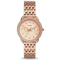 Fossil Tailor Watch - Gold (10.160 RUB) ❤ liked on Polyvore featuring jewelry, watches, gold, fossil wrist watch, gold wrist watch, leather-strap watches, fossil jewelry and gold watches