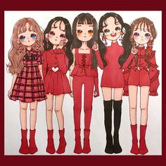 No photo description available. Kpop Drawings, Kawaii Drawings, Kawaii Chibi, Kawaii Girl, Red Velvet Photoshoot, Character Art, Character Design, Red Valvet, Best Friend Drawings