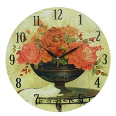 This listing is for one Home Decoration Vintage Style MDF Red Flowers in Blue Vase Scene Vintage Style Wall Clock 34 cm. Price £14.99