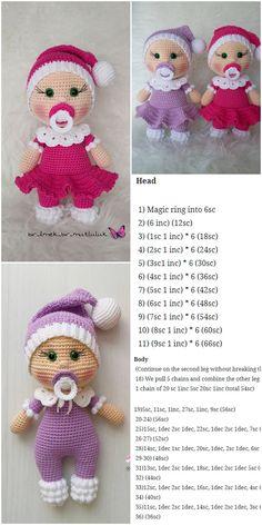 plus - crochet , Amigurumi Doll Pacifier Baby Free Crochet Pattern - Crochet.plus Amigurumi Doll Pacifier Baby Free Crochet Pattern - Crochet.plus Amigurumi - . Crochet Dolls Free Patterns, Amigurumi Patterns, Amigurumi Doll, Crochet Toys, Crochet Baby, Knitting Patterns, Scarf Crochet, Afghan Patterns, Knitting Ideas