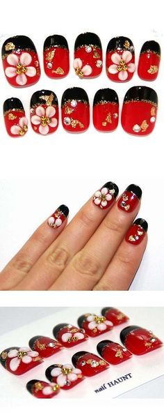 Artificial Nail Tips: Japanese Style Wagara Artificial Nail Tips Red X Black 3D Flower BUY IT NOW ONLY: $58.99