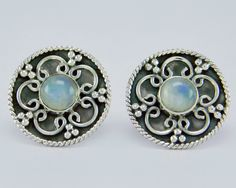 925 Sterling Solid Silver Rainbow Moonstone Stud Earring s.17 mm SS-051