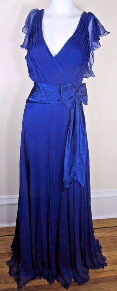 Tadashi Shoji Dress Formal Evening Blue Floor Length 100% Crepe Silk Womens 14
