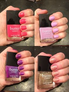 butter LONDON nail polish swatches: Molly Coddled, Tart With A Heart, Brummie and Cake-Hole