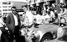 Carroll Shelby and Dan Gurney at the Targa Florio. Dan co-drove a Shelby Cobra with Bob Bondurant who is leaning against the Cobra. Ac Cobra, King Cobra, Le Mans, Aston Martin, Sport Cars, Race Cars, Shelby Car, Shelby Gt500, Dan Gurney
