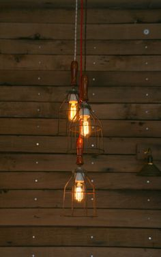 3 Wood Handle Cage Light Chandelier  by IndustrialRewind on Etsy, $149.00