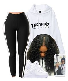 """black and white thrasher "" by jchristina ❤ liked on Polyvore featuring HUF and NIKE"